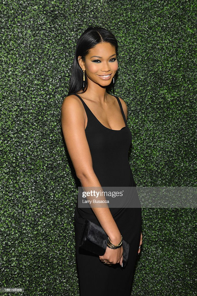 Model Chanel Iman arrives as Ralph Lauren Presents Exclusive Screening Of Hitchcock's To Catch A Thief Celebrating The Princess Grace Foundation at MoMA on October 28, 2013 in New York City.