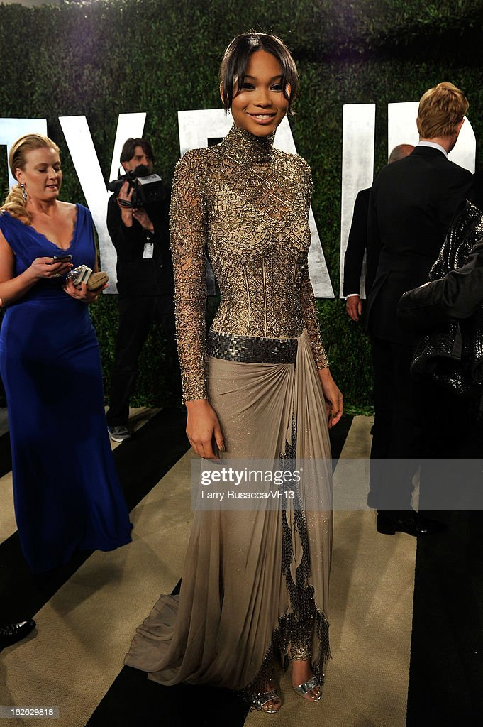 Model Chanel Iman arrives for the 2013 Vanity Fair Oscar Party hosted by Graydon Carter at Sunset Tower on February 24, 2013 in West Hollywood, California.