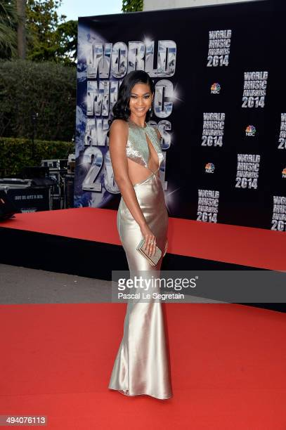 Model Chanel Iman arrives the World Music Awards at Sporting MonteCarlo on May 27 2014 in MonteCarlo Monaco