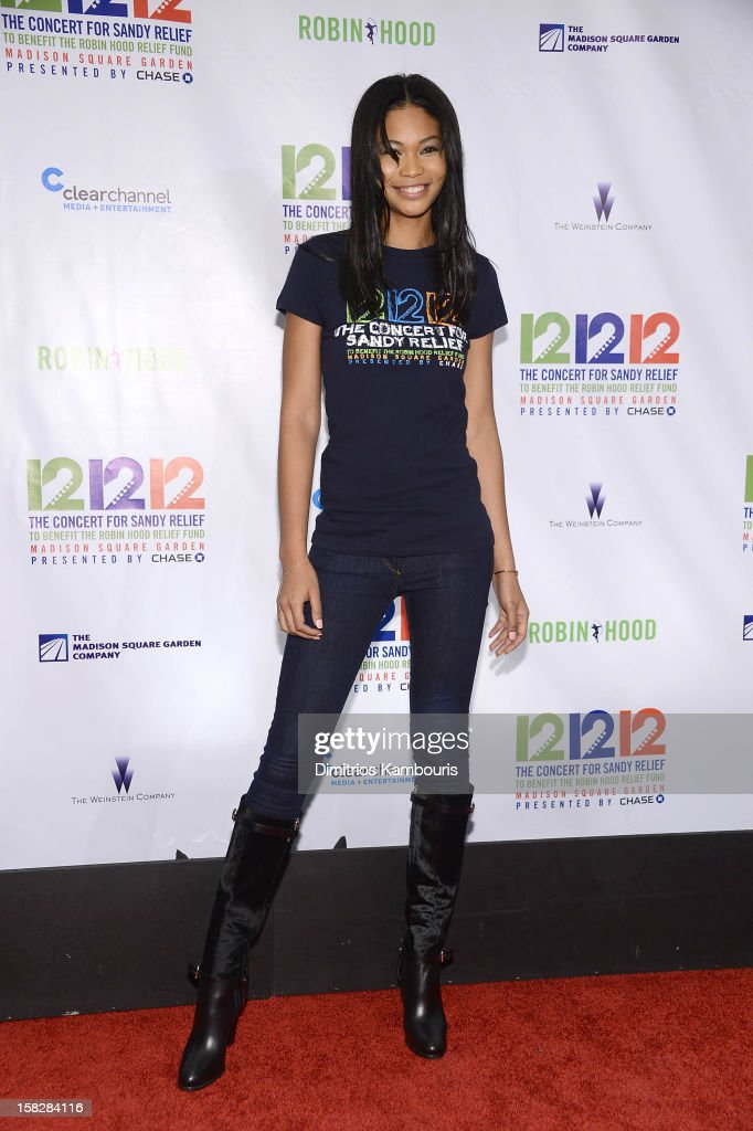 Model Chanel Iman attends '12-12-12' a concert benefiting The Robin Hood Relief Fund to aid the victims of Hurricane Sandy presented by Clear Channel Media & Entertainment, The Madison Square Garden Company and The Weinstein Company at Madison Square Garden on December 12, 2012 in New York City.