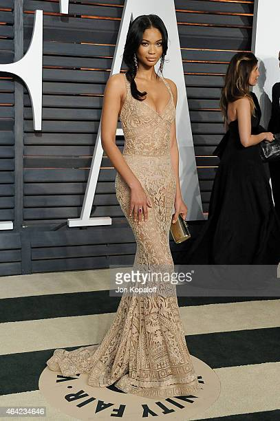 Model Chanel Iman attends the 2015 Vanity Fair Oscar Party hosted by Graydon Carter at Wallis Annenberg Center for the Performing Arts on February 22...