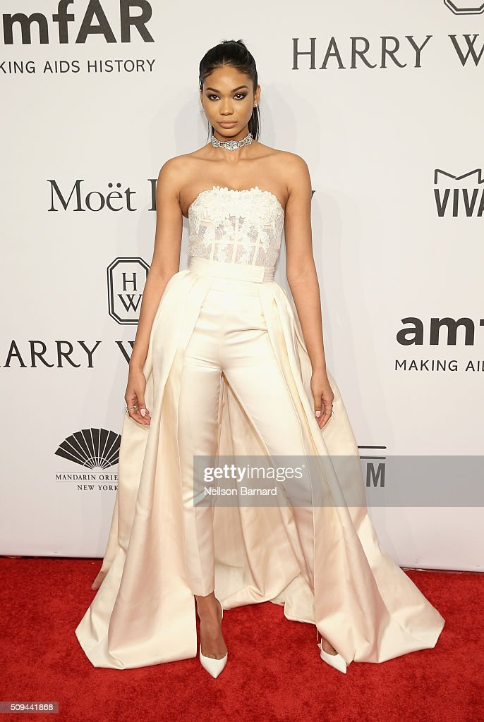 Model <a gi-track='captionPersonalityLinkClicked' href=/galleries/search?phrase=Chanel+Iman&family=editorial&specificpeople=2905732 ng-click='$event.stopPropagation()'>Chanel Iman</a> attends the 2016 amfAR New York Gala at Cipriani Wall Street on February 10, 2016 in New York City.