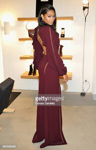 Model Chanel Iman attends the opening of the ZIMMERMANN Melrose Place Flagship Store hosted by Nicky and Simone Zimmermann on July 29 2015 in Los...