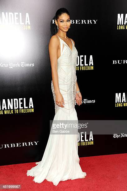 Model Chanel Iman attends the screening of 'Mandela Long Walk to Freedom' hosted by U2 Anna Wintour and Bob Harvey Weinstein with Burberry at the...
