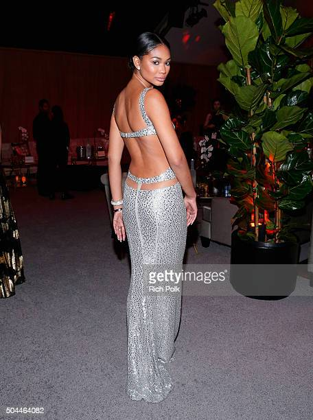 Model Chanel Iman attends The Weinstein Company and Netflix Golden Globe Party presented with DeLeon Tequila Laura Mercier Lindt Chocolate Marie...