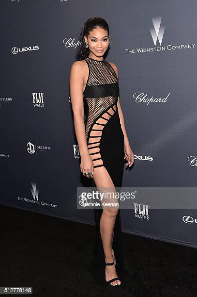 Model Chanel Iman attends The Weinstein Company's PreOscar Dinner presented in partnership with FIJI Water Chopard DeLeon and Lexus at the Montage...