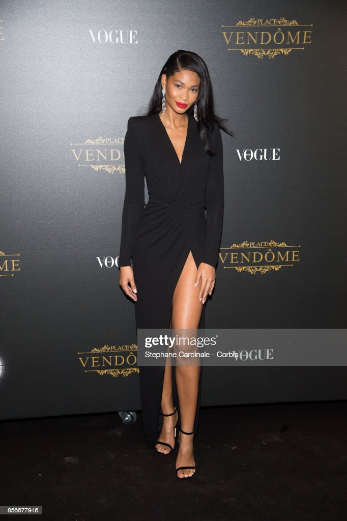 Model Chanel Iman attends Vogue Party as part of the Paris Fashion Week Womenswear Spring/Summer 2018 at on October 1, 2017 in Paris, France.