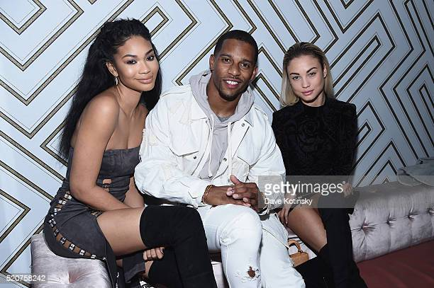 Model Chanel Iman footbal player Victor Cruz and model Rose Bertram attend Sports Illustrated's Fashionable 50 event at Vandal on April 12 2016 in...