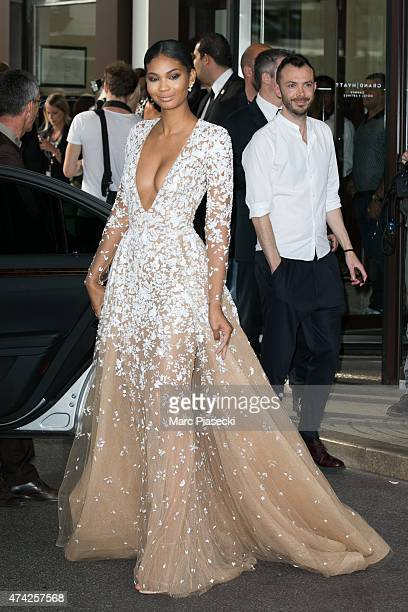 Model Chanel Iman is seen leaving the Grand Hyatt Cannes Hotel Martinez during the 68th annual Cannes Film Festival on May 21 2015 in Cannes France