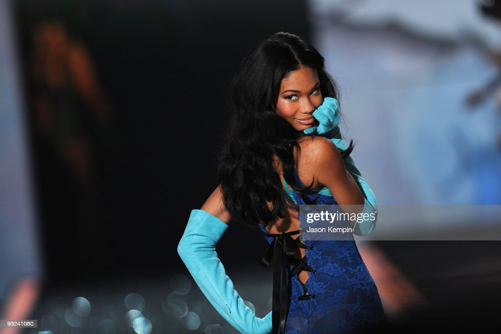 Model Chanel Iman walks the runway at the Victoria's Secret fashion show at The Armory on November 19, 2009 in New York City.