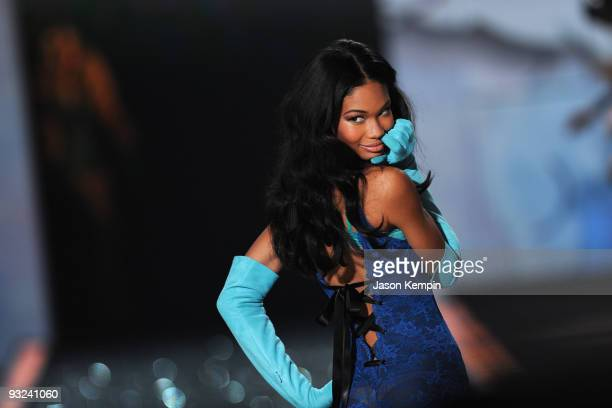 Model Chanel Iman walks the runway at the Victoria's Secret fashion show at The Armory on November 19 2009 in New York City