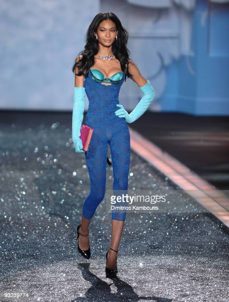 Model Chanel Iman walks the runway during the 2009 Victoria's Secret fashion show at The Armory on November 19 2009 in New York City