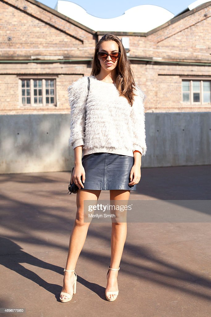 Model Chanel Stewart wears a Vanishing Elephant skirt vintage top Nude shoes Status Anxiety bag and AM Eyewear sunglasses at MercedesBenz Fashion...