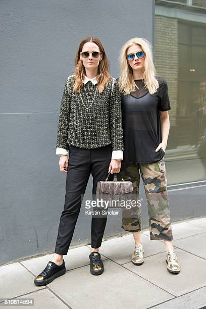 Model Charlotte De Carle wears a Sister Jane top River Island trousers Aspinal of London bag Puma trainers and RayBan sunglasses with Presenter and...
