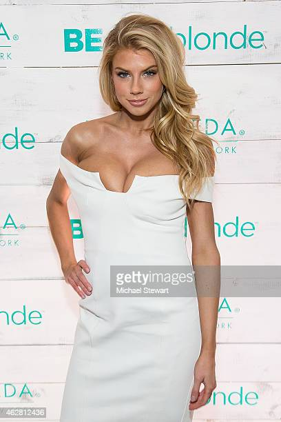 Model Charlotte McKinney attends John Frieda Hair Care Beach Blonde Collection Party at the Garage on February 5 2015 in New York City