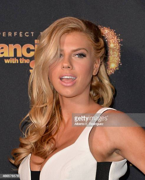 Model Charlotte McKinney attends the premiere of ABC's 'Dancing With The Stars' season 20 at HYDE Sunset Kitchen Cocktails on March 16 2015 in West...