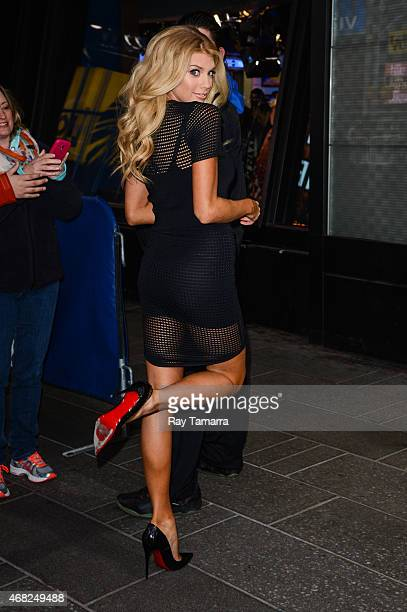 Model Charlotte McKinney enters the 'Good Morning America' taping at the ABC Times Square Studios on March 31 2015 in New York City