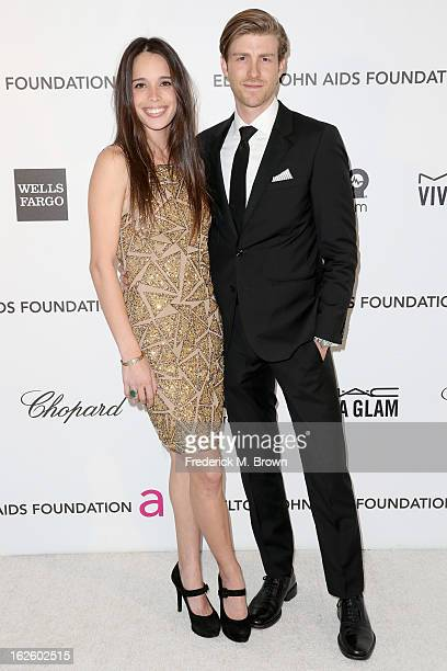 Model Chelsea Tyler and actor Jon Foster arrive at the 21st Annual Elton John AIDS Foundation's Oscar Viewing Party on February 24 2013 in Los...