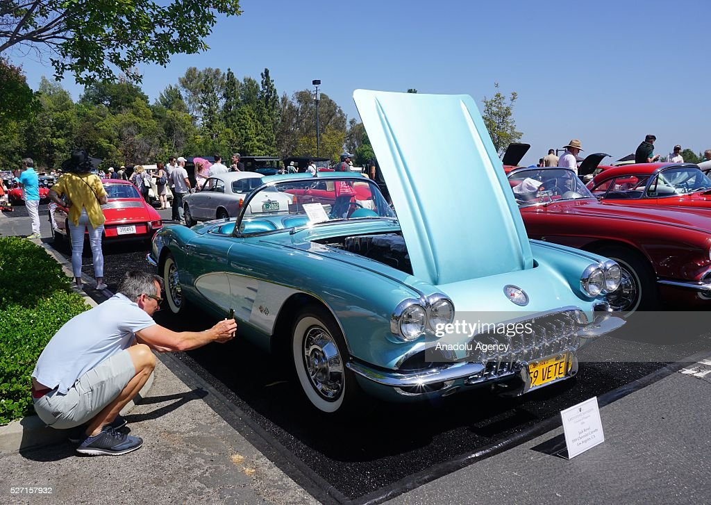 1959 model Chevrolet Corvette is on display during Concours d'Elegance at Greystone Mansion in Beverly Hills, Los Angeles, USA, on May 2, 2016. 140 classic automobiles from 18 different categories are displayed during the Concours d'Elegance classic automobile show.