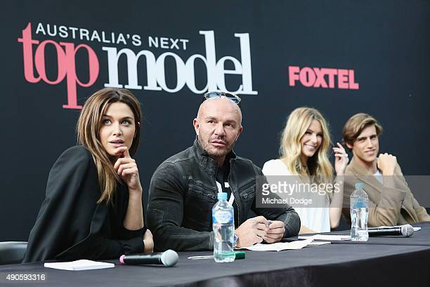 Model Cheyenne Tozzi and Fashion designer Alex Perry Jennifer Hawkins and Zac Stenmark look on at Australia's Next Top Model Season 10 auditions at...