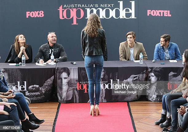 Model Cheyenne Tozzi Fashion designer Alex Perry Jennifer Hawkins and Zac Stenmark question a hopeful model at Australia's Next Top Model Season 10...