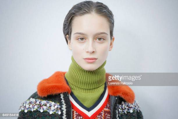 Model Chiara Corridori beauty backstage detail is seen backstage before the Moncler Gamme Rouge show as part of the Paris Fashion Week Womenswear...
