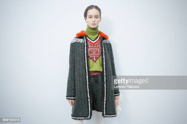 Model Chiara Corridori is seen backstage before the Moncler Gamme Rouge show as part of the Paris Fashion Week Womenswear Fall/Winter 2017/2018 on...