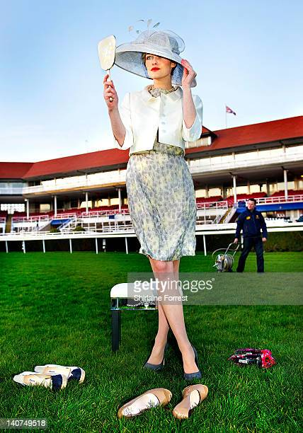 Model Chloe Huntley prepares for the start of the racing fashion season which accounts for 25% of the total spring fashion sales at McArthurGlen...