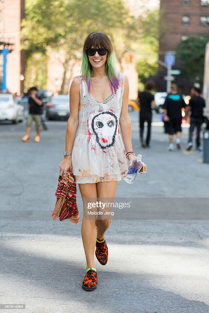 Model Chloe Norgaard wears a Charlie Nesi dress, Underground x Subling shoes, and a Missoni scarf on Day 1 of New York Fashion Week Spring/Summer 2015 on September 4, 2014 in New York City.
