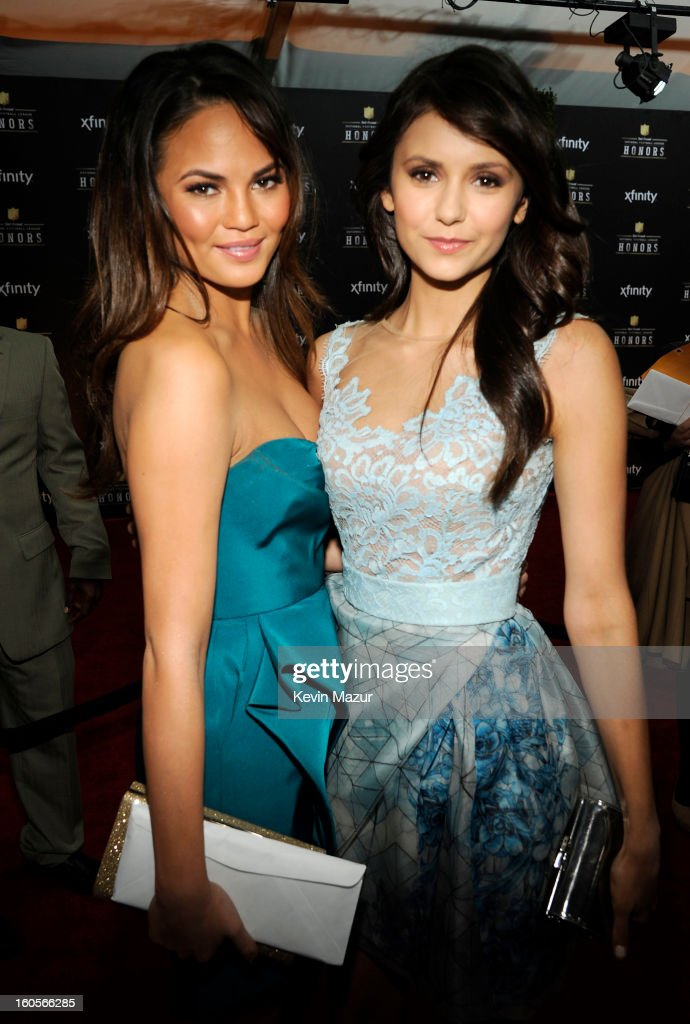 Model Chrissy Teigen (L) and actress Nina Dobrev attend the 2nd Annual NFL Honors at the Mahalia Jackson Theater on February 2, 2013 in New Orleans, Louisiana.