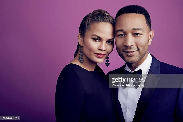 Model Chrissy Teigen and husband John Legend pose for a portrait during the 47th NAACP Image Awards presented by TV One at Pasadena Civic Auditorium...