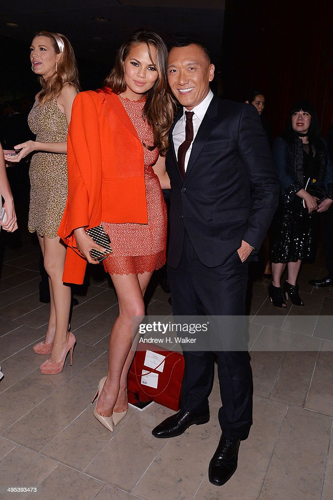 Model Chrissy Teigen and Joe Zee attend the 2014 CFDA fashion awards at Alice Tully Hall Lincoln Center on June 2 2014 in New York City