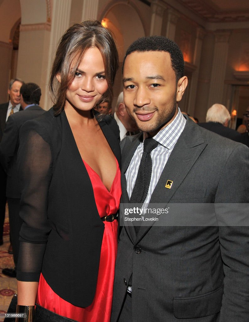 Model Chrissy Teigen and <a gi-track='captionPersonalityLinkClicked' href=/galleries/search?phrase=John+Legend&family=editorial&specificpeople=201468 ng-click='$event.stopPropagation()'>John Legend</a> attend the International Rescue Committee's Annual Freedom Award benefit at the Waldorf Astoria Hotel on November 9, 2011 in New York City.
