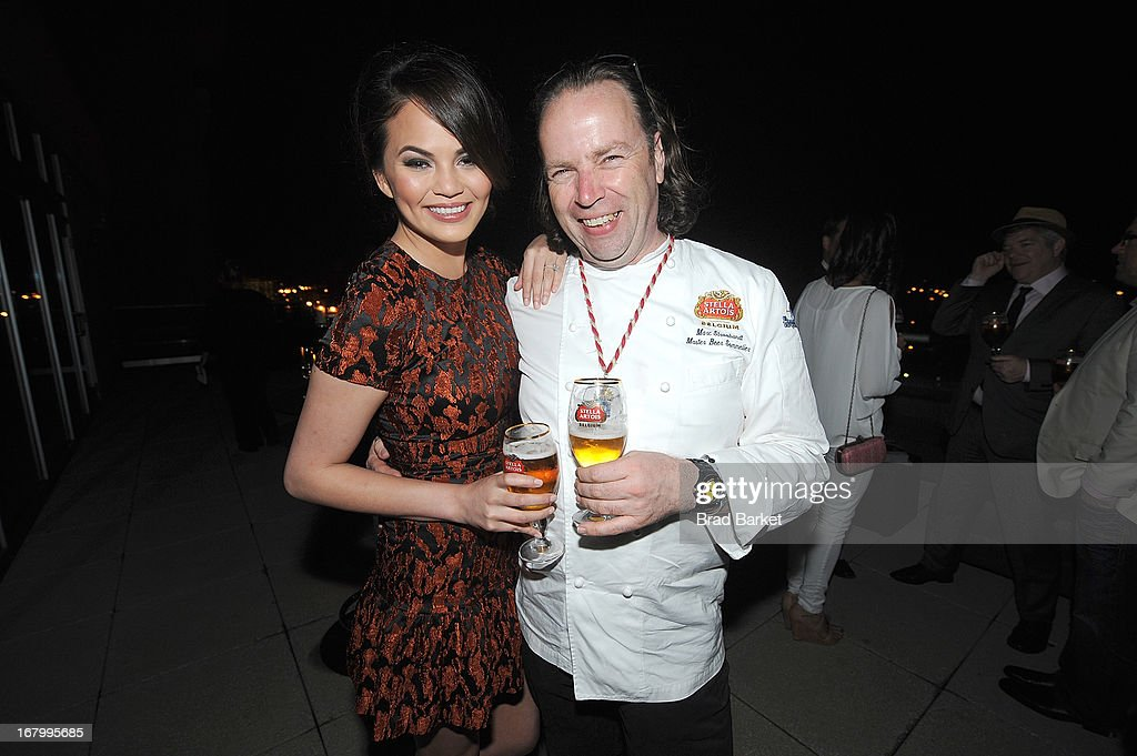 Model Chrissy Teigen and Marc Stroobandt attend GQ Derby Style Event Presented By Stella Artois on May 3, 2013 in Louisville, Kentucky.