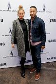 Model Chrissy Teigen and musician John Legend attend Samsung Studio and Harvey Weinstein Host Annual Weinstein Sundance Bowl Football Party During...