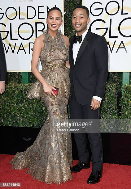 Model Chrissy Teigen and musician John Legend attend the 74th Annual Golden Globe Awards at The Beverly Hilton Hotel on January 8 2017 in Beverly...