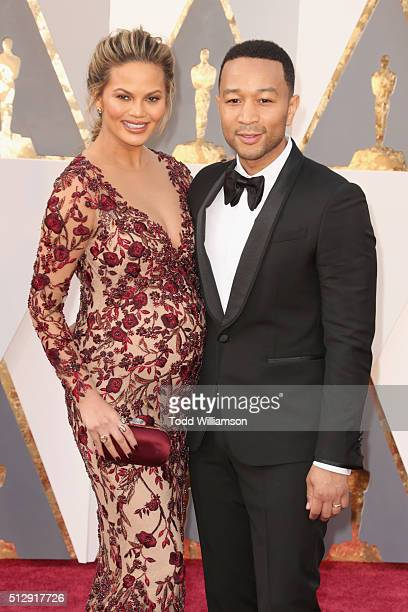 Model Chrissy Teigen and musician John Legend attend the 88th Annual Academy Awards at Hollywood Highland Center on February 28 2016 in Hollywood...