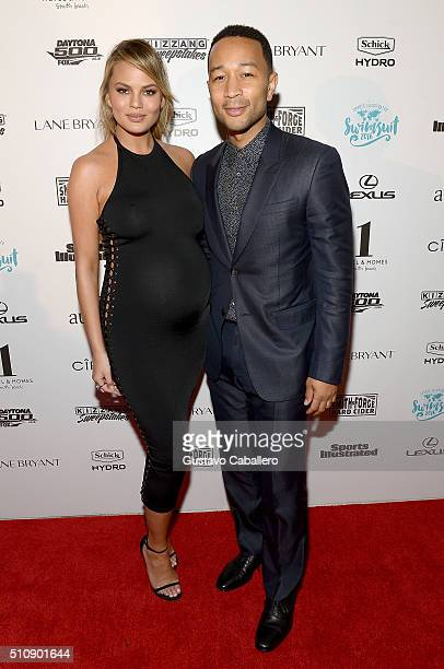 Model Chrissy Teigen and musician John Legend attend the Sports Illustrated Swimsuit 2016 Swim BBQ VIP at 1 Hotel Homes South Beach on February 17...