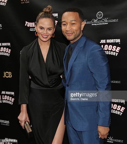 Model Chrissy Teigen and producer/musician John Legend attend the opening night of 'Turn Me Loose' held at The Westside Theatre on May 19 2016 in New...