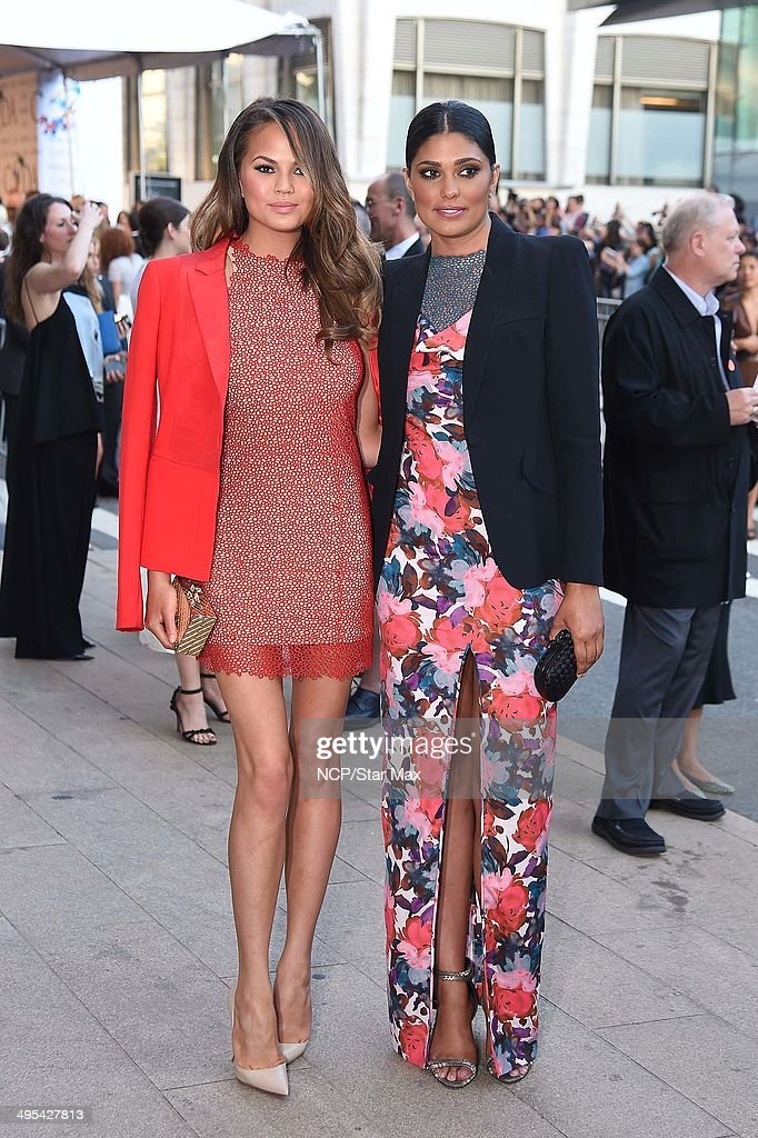 Model Chrissy Teigen and Rachel Roy are seen on June 2, 2014 arriving at The 2014 CFDA Fashion Awards in New York City.