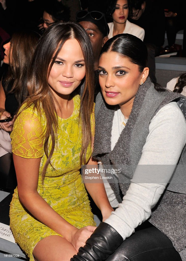 Model Chrissy Teigen and Rachel Roy attend the Vera Wang Fall 2013 fashion show during Mercedes-Benz Fashion Week at The Stage at Lincoln Center on February 12, 2013 in New York City.