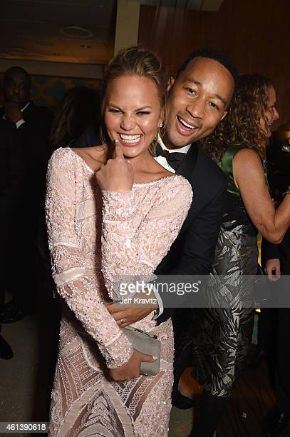 Model Chrissy Teigen and recording artist John Legend attend HBO's Official Golden Globe Awards After Party at The Beverly Hilton Hotel on January 11...