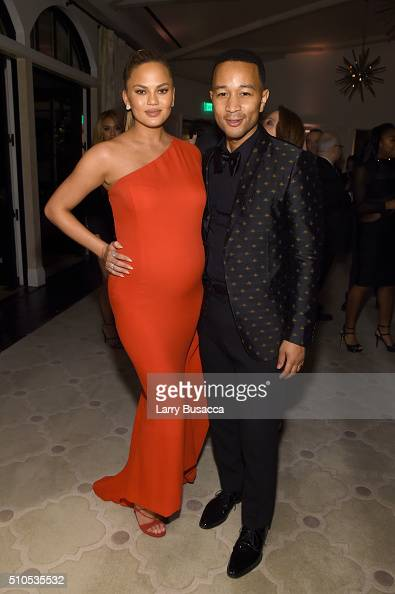 Model Chrissy Teigen and recording artist John Legend attend Sony Music Entertainment 2016 PostGrammy Reception at Hotel Bel Air on February 15 2016...