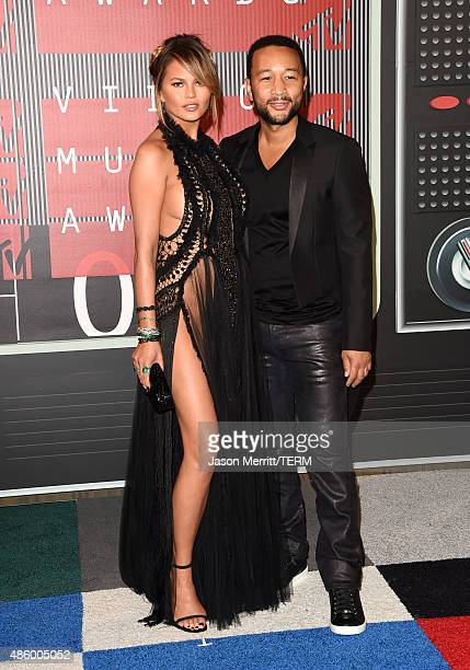 Model Chrissy Teigen and recording artist John Legend attend the 2015 MTV Video Music Awards at Microsoft Theater on August 30 2015 in Los Angeles...