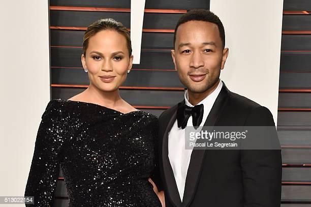 Model Chrissy Teigen and recording artist John Legend attend the 2016 Vanity Fair Oscar Party Hosted By Graydon Carter at the Wallis Annenberg Center...