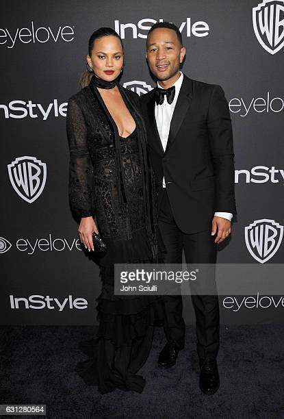 Model Chrissy Teigen and recording artist John Legend attend The 2017 InStyle and Warner Bros 73rd Annual Golden Globe Awards PostParty at The...