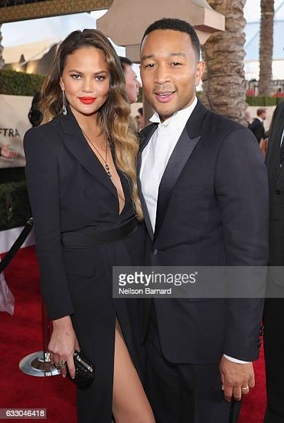 Model Chrissy Teigen and recording artist John Legend attend the 23rd Annual Screen Actors Guild Awards at The Shrine Expo Hall on January 29 2017 in...