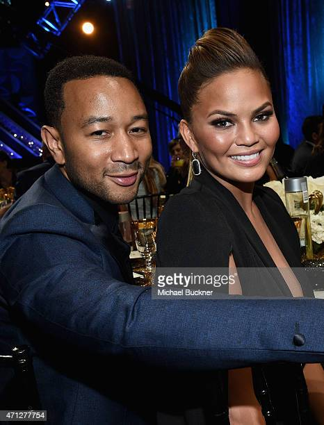 Model Chrissy Teigen and recording artist John Legend attend The 42nd Annual Daytime Emmy Awards at Warner Bros Studios on April 26 2015 in Burbank...