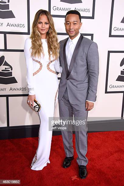 Model Chrissy Teigen and recording artist John Legend attend The 57th Annual GRAMMY Awards at the STAPLES Center on February 8 2015 in Los Angeles...
