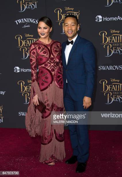 Model Chrissy Teigen and recording artist John Legend attend the world premiere of Disney's Beauty and the Beast at El Capitan Theatre in Hollywood...